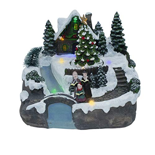 Mediawave Store - Villaggio Natalizio con Scenario 361007 illuminazioni e Musica 20x19x16 cm, Villaggio di Natale per Addobbi o Decorazioni Natalizie, Natale, Oggettistica