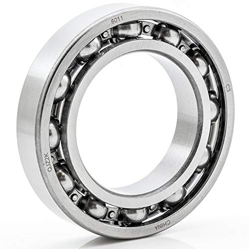 [1-Pack] 6011-OPEN - Deep Groove Radial Ball Bearing 55 mm x 90 mm x 18 mm (ID x OD x Width) Open Style Seal with Clearance C3