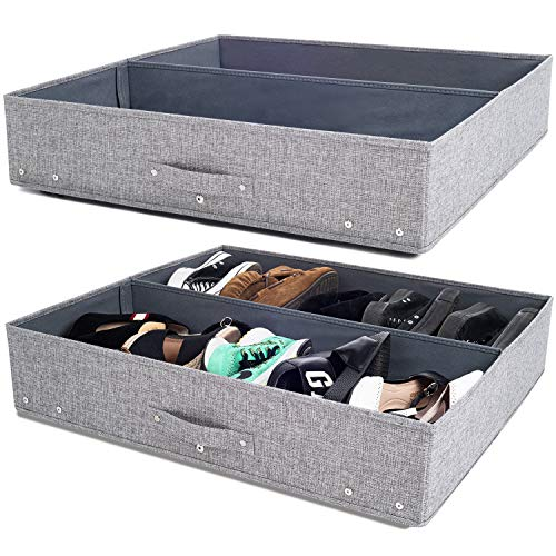 Under Bed Storage with Wheels, Sturdy Underbed Storage Solution, 28x24x6.3in, Pack of 2