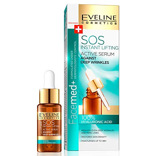 Eveline Cosmetics Instant SOS Lifting Anti-Aging 100% Hyaluron Serum Gesichts für Tiefe Falten und Alle Hauttypen   18 ML   Glatte, Feuchte Haut   Intensive Regeneration und Flüssigkeitszufuhr