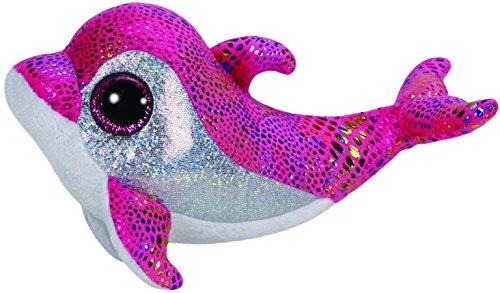 TY 36126 - Sparkles - Delfin bunt glitzernde Oberseite mit Glitzeraugen, Glubschi's, Beanie Boo's, 15 cm, pink