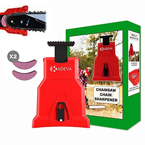 Afilador cadena motosierra portatil con kit 2 piedras de afilado ideal para repaso de cadena en lugar de trabajo afiladora para afilar cadenas de motosierra rojo