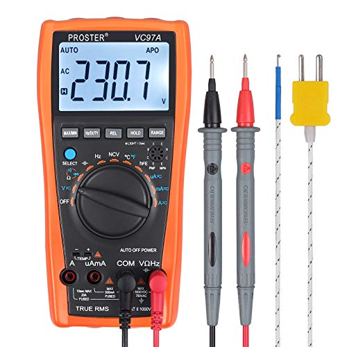Proster PST97 Multimètre Numérique 3999 VC97 LCD Multimètre à Sélection Automatique de Gamme,CAT II Mesure Résistance Capacité,Tension et Courant Alternatif et Continu diode, transistor et cont