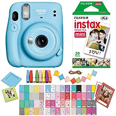 Fujifilm Instax Mini 11 Sky Blue Instant Camera with Twin Pack Instant Film, Ritz Gear Frame Stickers and Ritz Gear Hanging Frames from FUJIFILM