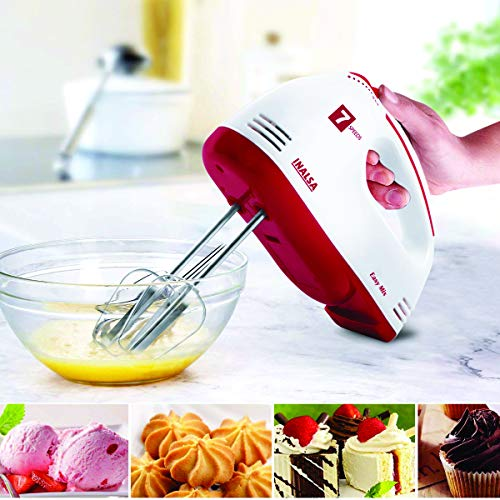 Inalsa Hand Blender| Hand Mixer|Beater - Easy Mix, Powerful 250 Watt Motor | Variable 7 Speed Control | 1 Year Warranty | (White/Red)