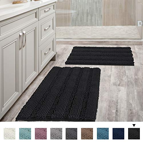 Extra Thick Striped Bath Rugs for Bathroom - (Set of 2) Anti-Slip Bath Mats Soft Plush Chenille Yarn Shaggy Mat Living Room Bedroom Mat Floor Water Absorbent (Jet Black, 20 x 32 Plus 17 x 24 - Inches)