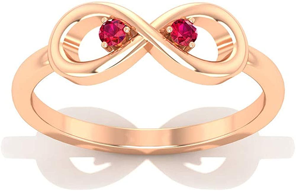 Ruby Infinity Ring, Promise Ring for Her, Simple Gold Ring (2 MM Round Shaped Ruby), 14K Gold
