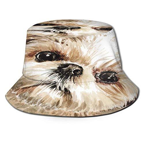 Shih Tzu Puppy Painting Bucket Hat Unisex Gorra de Verano al Aire Libre Sombreros de Sol Plegables para Senderismo Deportes de Playa Negro