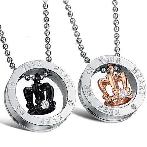JewelryWe Collares corona fijados con piedra de circonio cúbico'Keep Me in Your Heart' de acero inoxidable Moda