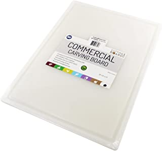 Commercial Plastic Carving Board with Groove, NSF Certified, HDPE Poly, 20 x 15 x 0.5 Inch, White