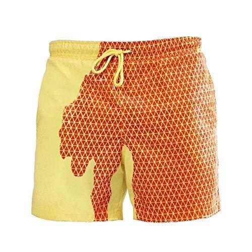 AIYL Bañador de Cambio de Color para Hombres Pantalones Cortos de Playa de Verano de Secado rápido sensibles a la Temperatura Pantalones Cortos de baño Pantalones Cortos de Surf de Secado rápido J-M