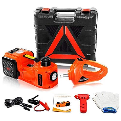 POEO Gato hidráulico de 3 Funciones para automóvil, Kit de Herramientas de 12 V 5 T, Gato eléctrico para automóvil, Gato de Piso hidráulico eléctrico con Martillo de Seguridad, Abrazadera de batería