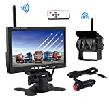 Cámara de visión trasera inalámbrica, Podofo 7 'HD TFT LCD Vista posterior Monitor + Cámara retrovisor impermeable para camiones RV