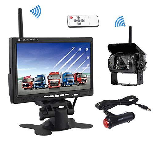 Podofo Caméra de Recul sans Fil Kit Système, 7 Pouces TFT LCD Moniteur + IP68 Étanche Vision Nocturne Caméra de Recul + Adaptateur...