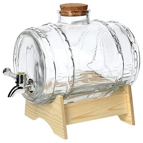 Fass mit Hahn, fassförmiger Getränkespender aus Glas, Fass mit Zapfhahn, transparenter Spender mit Holzuntersatz, Alkoholspender ideal für Whisky, Brandy, Säfte, Limonade (3L)