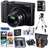 Panasonic Lumix ZS200 4K Digital Camera, 20.1 Megapixel, 15X Zoom Leica Lens, DC-ZS200K Black, Bundle with Bag, Battery, Dual Charger, 64GB SD Card + Case, Tripod, PC Software Kit, Cleaning Kit