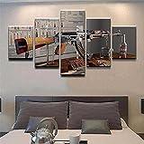 Myrdsio Leinwanddrucke Modern Home Wand Dekor Waffen Ak-47 Canvas 5 Stück Leinwände Drucken...