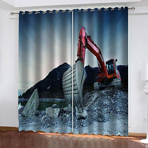 LJUKO Cortina Opaca En Cocina El Salon Dormitorios Habitación Infantil 3D Impresión Digital Ojales Cortinas Termica - -Excavadora Roja