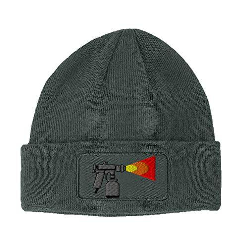 Custom Patch Beanie Automotive Paint Gun Embroidery Acrylic Skull Cap Hats for Men & Women Dark Grey Design Only