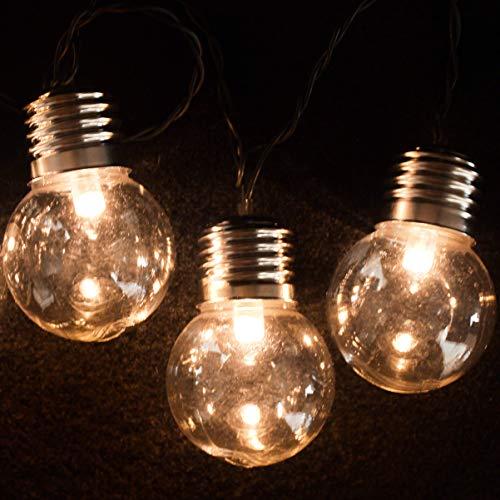 Garden Mile 10x Rétro Solaire Ampoule Lumière Guirlande Lumineuse 10 LED Transparent Ampoule Lumière Couvres Avec 2 Modes Multi Usage Écologique Imperméable À L'eau Extérieur guirlande lumineuse