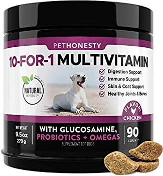 PetHonesty 10 in 1 Dog Multivitamin with Glucosamine - Essential Dog Vitamins with Glucosamine Chondroitin Probiotics and Omega Fish Oil for Dogs Overall Health -  Chicken