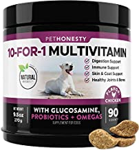 PetHonesty 10 in 1 Dog Multivitamin with Glucosamine - Essential Dog Vitamins with Glucosamine Chondroitin, Probiotics and Omega Fish Oil for Dogs Overall Health - (Chicken)