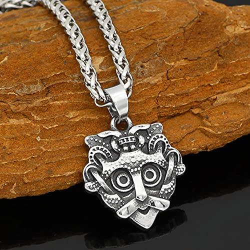 Serired Collar con Colgante de Máscara GNEZDOVO de Acero Inoxidable Vikingo para Hombre, Joyas de Amuleto Vintage Unisex Odin's Warrior,60cm