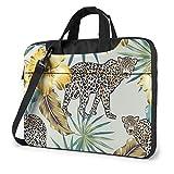 Bolso para portátil con Estampado de Leopardo y Hojas de Palma, maletín de Hombro para Negocios