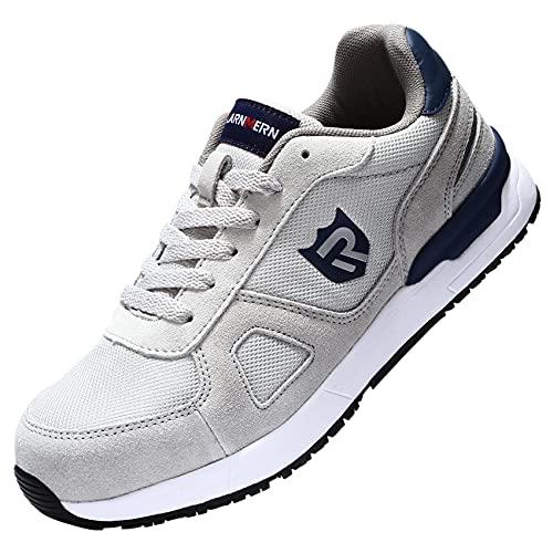 LARNMERN PRO Zapatos de Seguridad Hombre Punta de Acero Zapatos de Trabajo SRC Anti-Deslizante Ligero Transpirables Zapatillas de Seguridad Comodo Calzado de Seguridad Gris Talla 45 EU