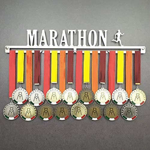 MEDALdisplay Marathon - Colgador de medallas Deportivas Masculino - Medallero de Pared Running, Corredor, Maratón - Sport Medal Hanger (M 450 mm x 80 mm x 3 mm)