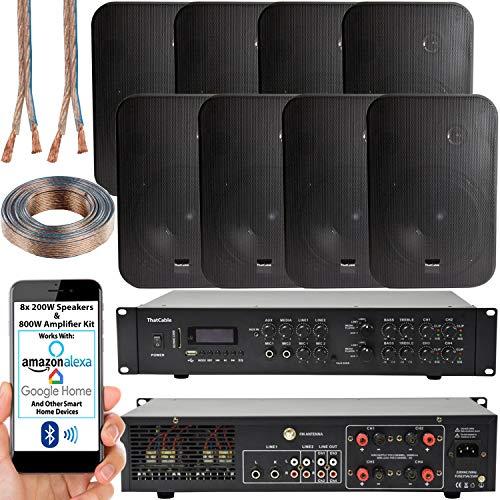 800W Multi Zone Bluetooth Sound System | 4 Channel HiFi Matrix Amplifier...