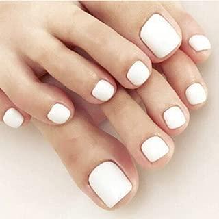 Poliphili 24 Pieces Pure Color False Toenails Full Coverage Fake Toe Nail Multicolor Summer Design (White)