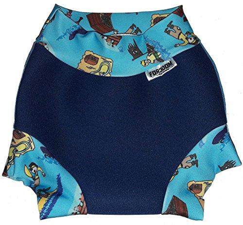 Swim Nappy Maillot de bain en néoprène pour bébé Bleu marine/pirates Taille M 8-11 kg