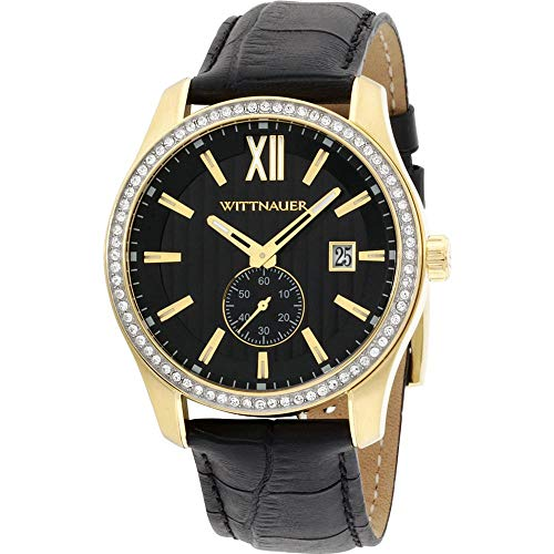 Wittnauer Men's 43mm Black Leather Band Gold Tone Steel Case Hardlex...