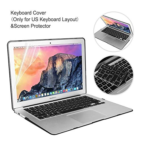 MacBook Air 13 Inch Case 2018 2019 Release Model A1932 Bundle 5 in 1, iCasso Hard Plastic Case, Sleeve, Screen Protector…