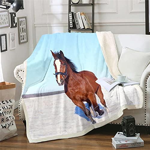 Manta de felpa con diseño de caballo, color marrón, manta de forro polar en 3D, para niños, niñas, niños, adolescentes, estilo de vida silvestre, manta difusa para sofá cama, bebé 76 x 100 cm