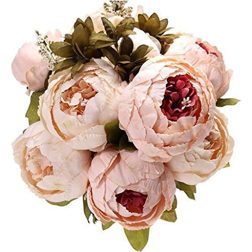 DWE 5künstliche Blumen, Seidenblumen, Pfingstrose, für Brautstrauß, Weihnachten, Hochzeit, Party, Zuhause, Dekoration rose