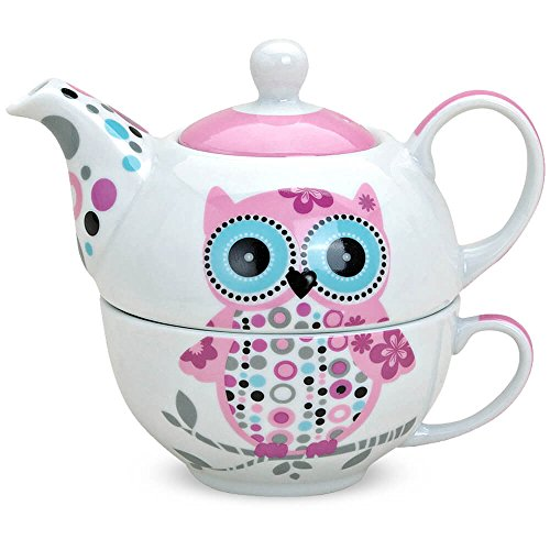 matches21 Tetera con taza – Taza de té Tea for one – Búho rosa azul 17 x 17 cm, porcelana Set de regalo incluye 100 gr. Té disfrutar