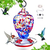 Hummingbird Bird Feeder,Hummingbirds Feeder for Outdoor,Hand Made Glass Humming Bird Feeder for Outside, Upgraded Leak with Ant Moat and S Hook, 28 Ounce (Blue, 28ounce)