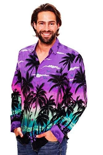 V.H.O. Funky Hawaiian Shirt, LS-Beach, Purple, XS