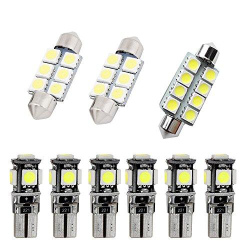 Muchkey Ampoules de Voiture Lampe pour Jetta MK5 Passat B6 R36 LED Canbus sans Erreur Voiture Lampe D'immatriculation Lumières Lampes Remplacement Blanc 9pcs