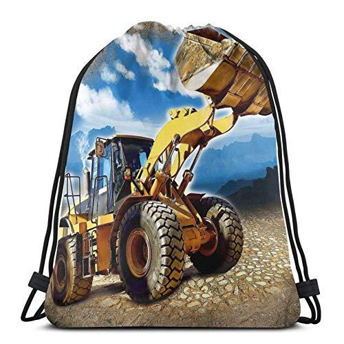 Mochila deportiva con cordón para tractor de construcción, bolsa de viaje para niños, hombres y mujeres