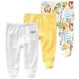 Vine Pack de 3 Pantalones para Bebé Niños Leggings con Pies de Algodón, 6-9 Meses