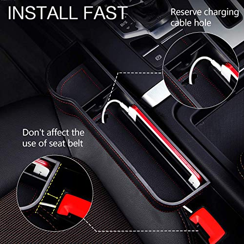 Homesprit 2 Packs Premium PU Black Car Seat Gap Filler,No Deformation,Environmentally Friendly Materials, Console Side Pocket, for Cellphone,Wallet, Cup Holder, Various Cards