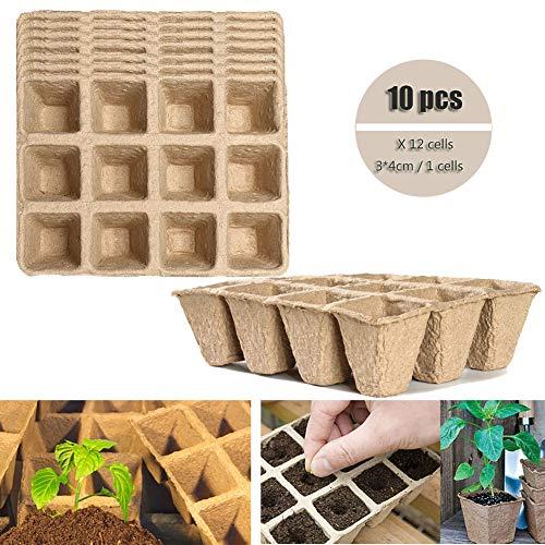 SANGDA Seed Starter Seedling Cup, 10 Stks Biologisch afbreekbaar Papier Pulp Turf Potten Zaden Starter Ontkieming Lade Milieuvriendelijk Zaad Planters voor Bloem Kruid Plantaardige Saplings D 12