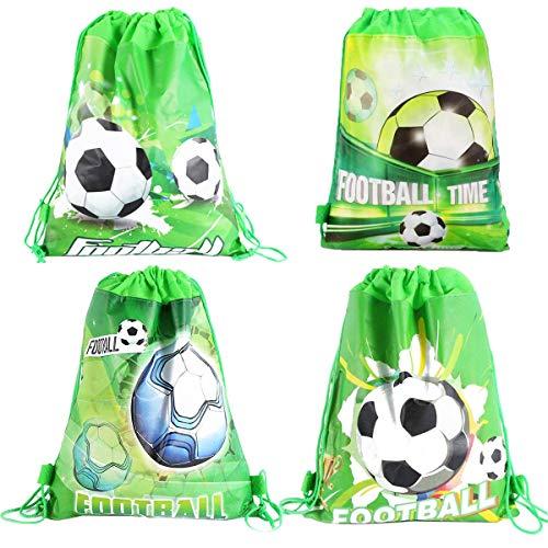 Osuter Mochilas Fútbol de Cuerdas, 12PCS Mochila con Cordón Tela no Tejida Bolsas de Cuerdas Infantiles para Niños Cumpleaños Fiesta(Verde)