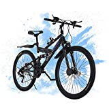 Mountain Bike, 26 Inch Full Suspension 21 Speeds Shimano Carbon Steel Mountain Bike for Adults, Non-Slip Bike, Disc Brake MTB Bikes for Men and Women, Fast Delivery [USA in Stock ]