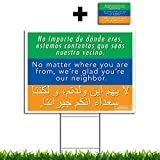 VIBE INK We're Glad You're Our Neighbor Multilingual Large Yard Sign 18x24 - Included 24-inch Yard Stake - Double Sided Print