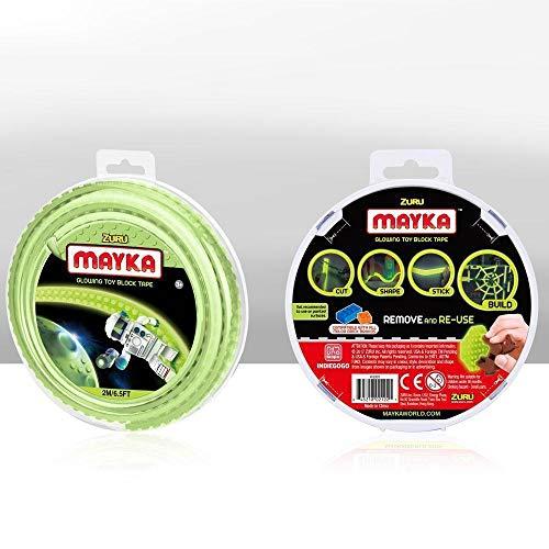 Zuru – Mayka Tape – Spielbaustein-Klebeband selbstklebend – 2 Pins – Im Dunkeln leuchtend – 2 Meter