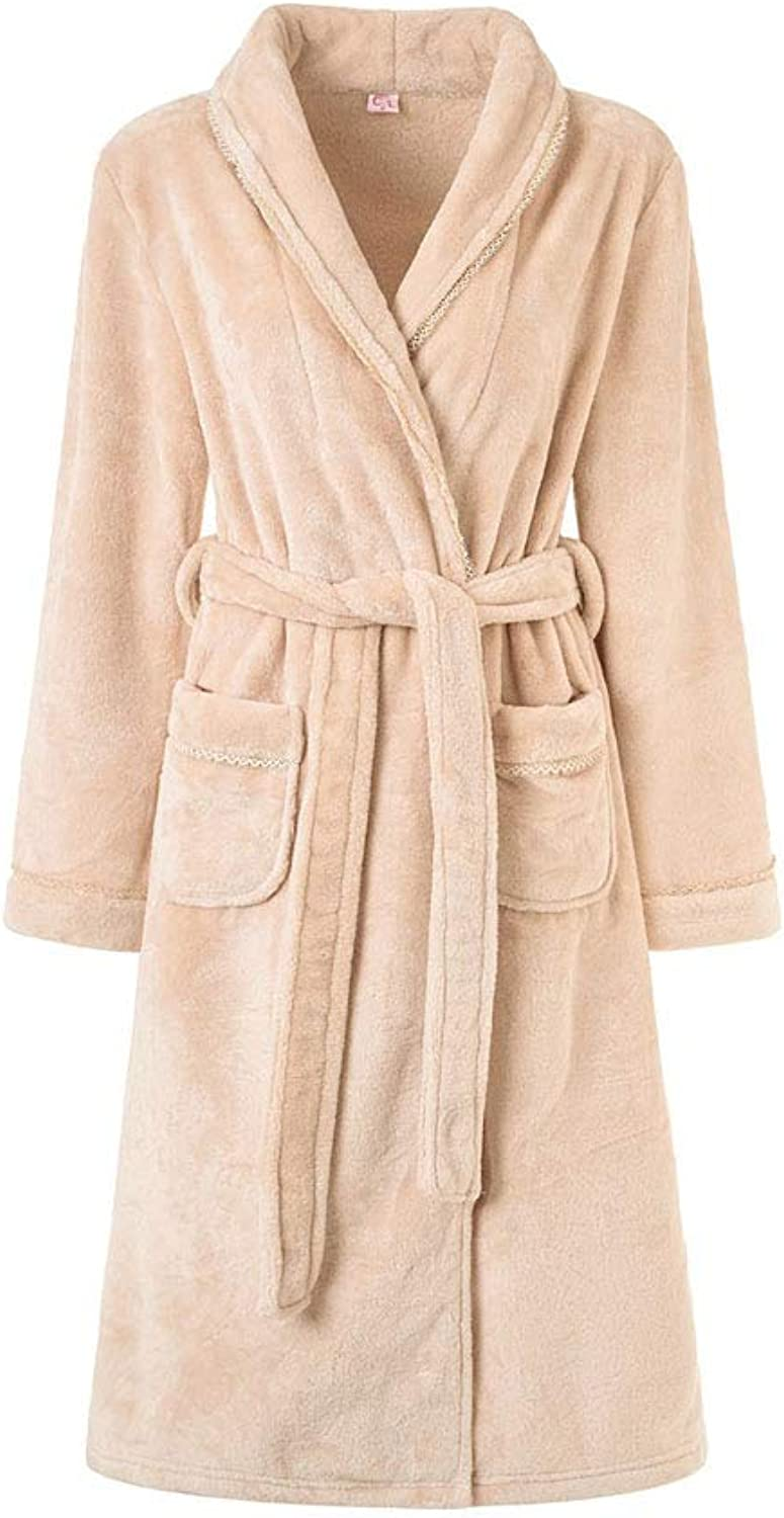 HEHGU Soft Long Sleeve Plush Robe Wrap Flannel Bathrobe Night Robe for Women